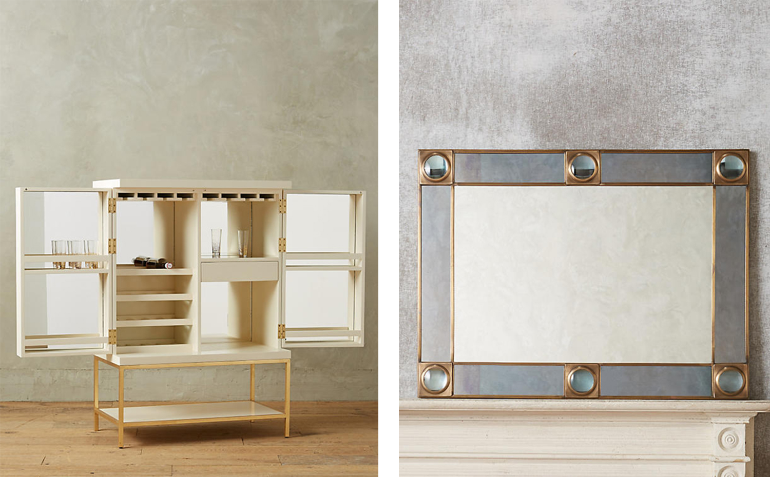 anthropologie. Mueble bar lacado en blanco con estructura dorada y Espejo Telescope, de Anthropologie