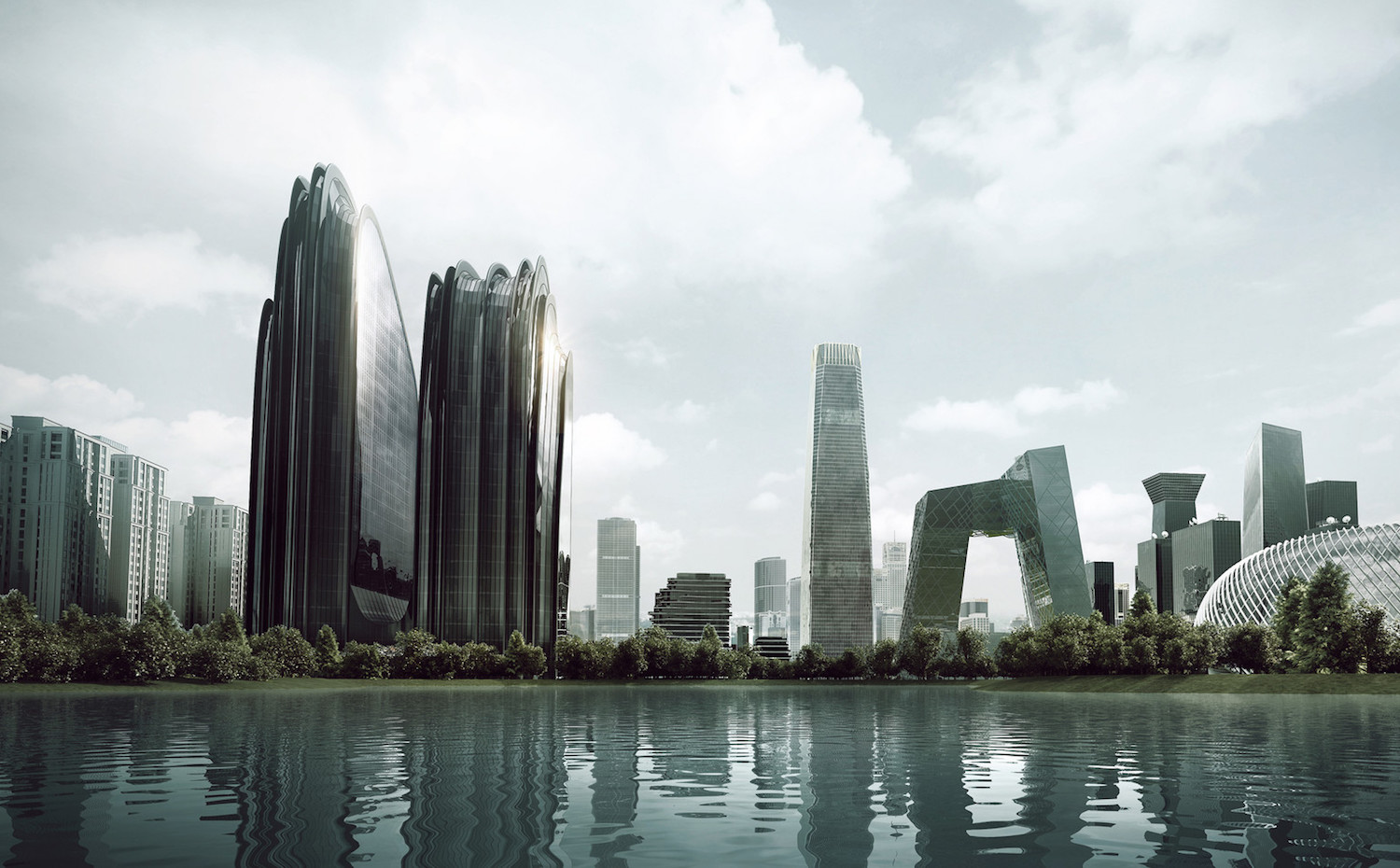 2. MAD 12003 Chaoyang Park Plaza i 02 overview with city context. [03] Chaoyang Park Plaza (Pekín), por MAD Arquitectos