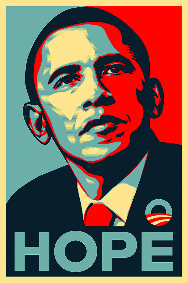 267 Obama Progress Hope (1). Cartel de la campaña presidencial de Barack Obama de 2008 diseñado por Shepard Fairey