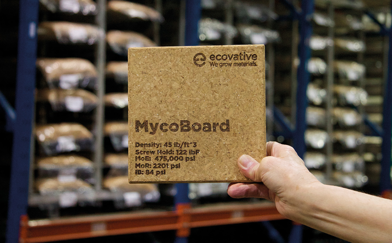 Ecovative-mycoboard. Tablero de material vegetal fermentado, de Ecovative