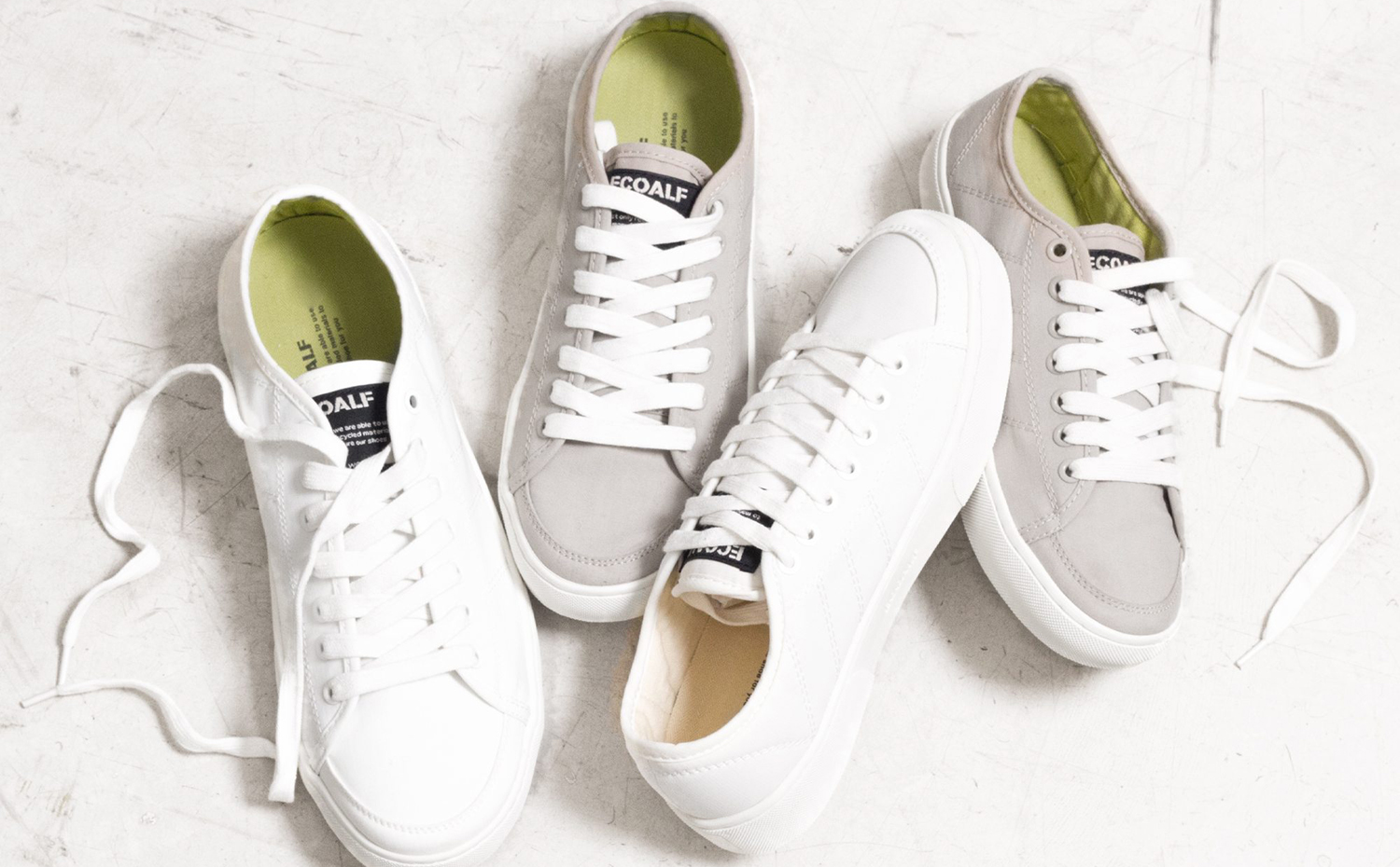 ecoalf recycled fabrics raw materials shoes white linen. Zapatillas fabricadas a partir de caucho reciclado, de Ecoalf