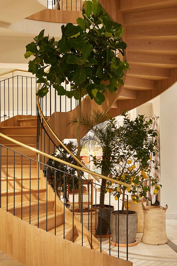 La elegante escalera de caracol que conduce a la segunda planta.