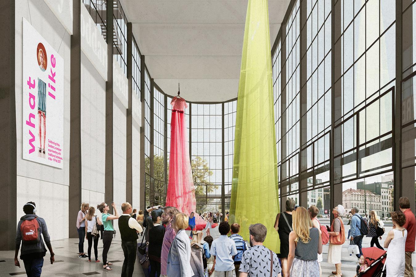 Un amplia calle interior atraviesa los 35.000 m2 el edificio