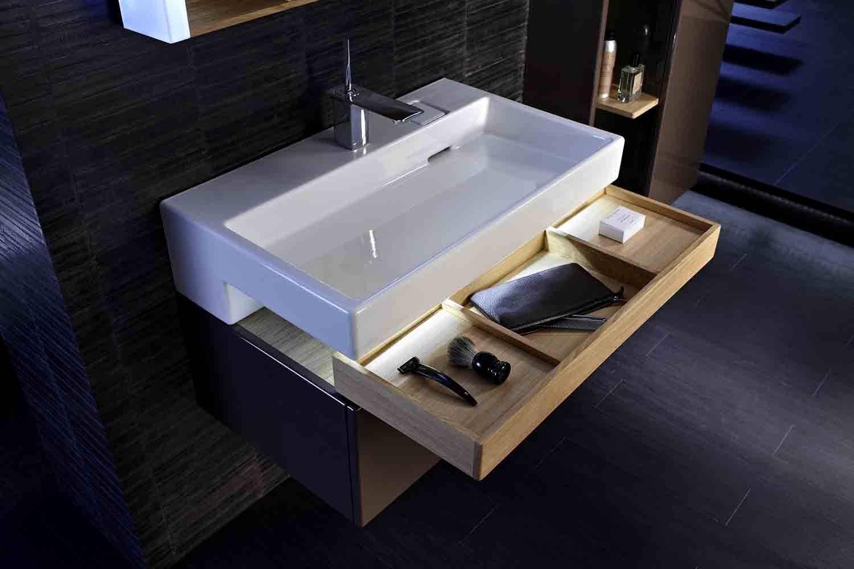 El diseño de la colección de mobiliario Terrace, de Jacob Delafon, se basa en las formas rectangulares ya que son las más naturales para los lavabos planos.