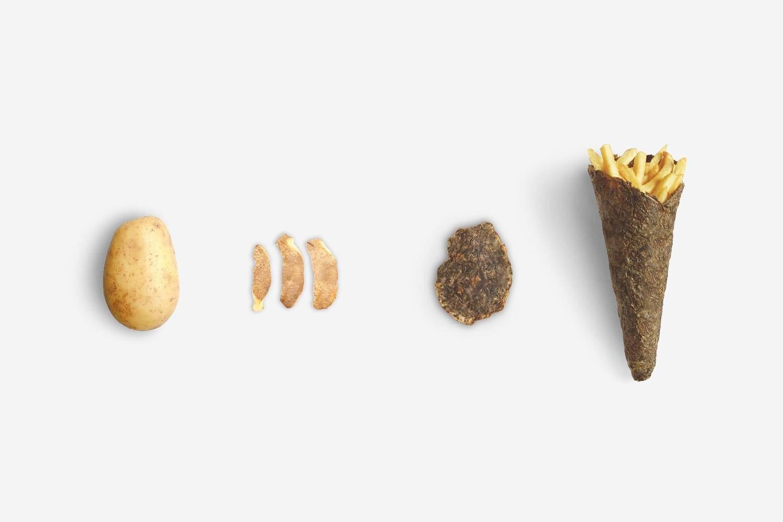Piel de patata para envolver patatas fritas