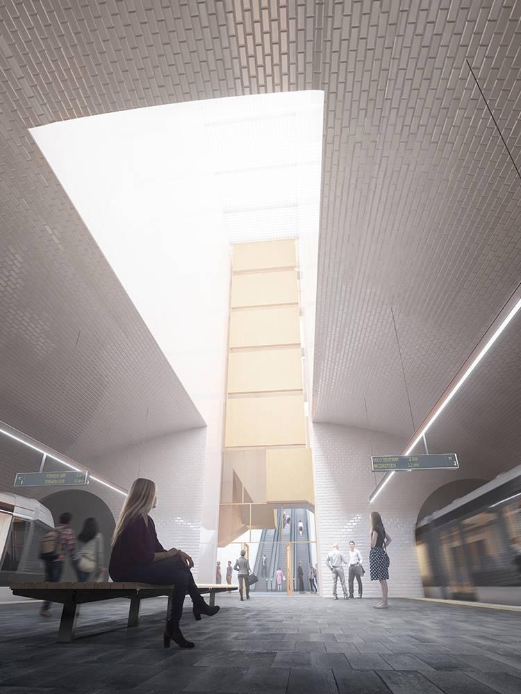 ProyectoVolarepara la estaciónFlytårnet del metro de Oslo.