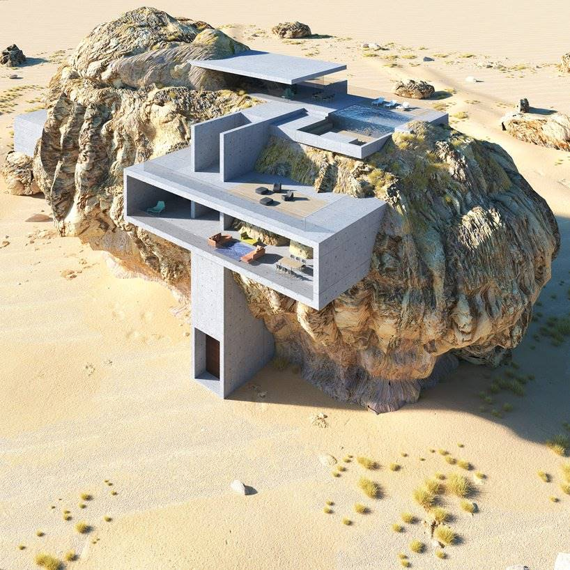 Desde esta perspectiva del render en 3D puede verse la mayor parte estructural de la 'House inside the Rock'
