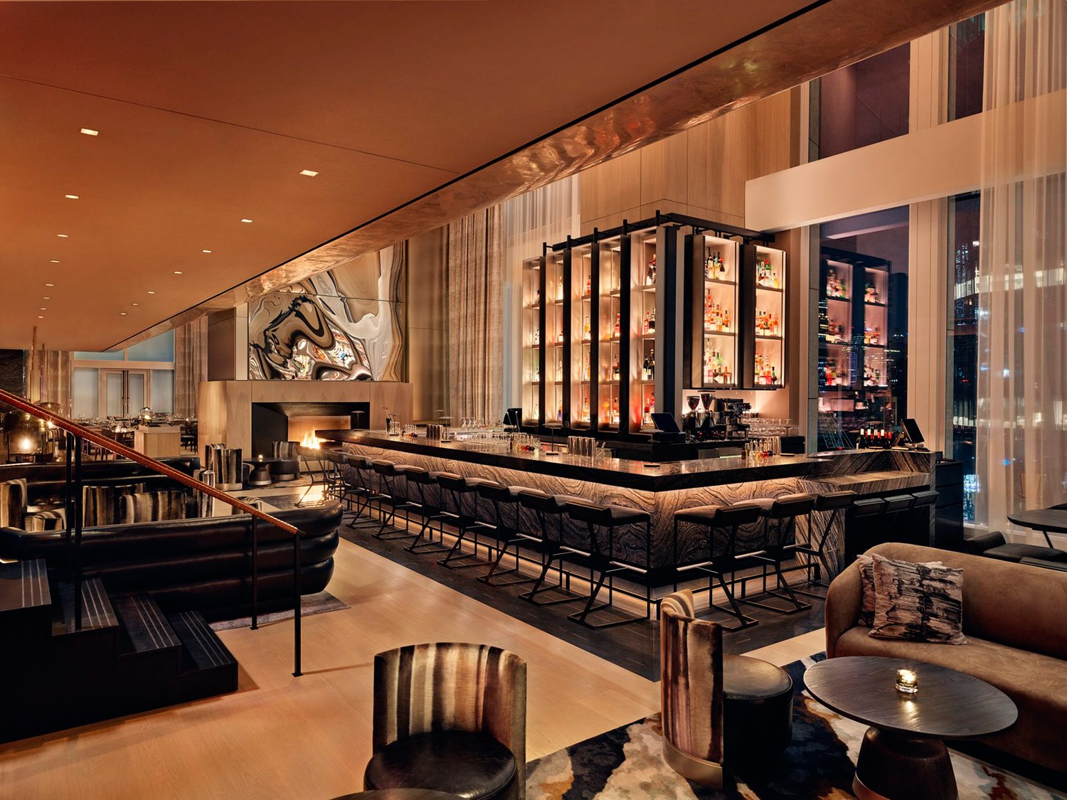 bar-Fireplace Hero-del-hotel-Equinox-de-Nueva-York
