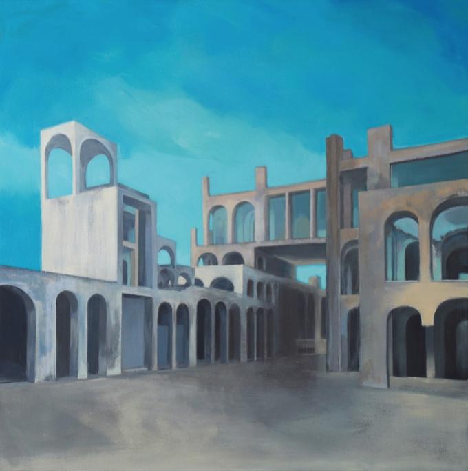 Casa-estudio de Xavier Corberó. 120x120 cm. Técnica mixta sobre lino.