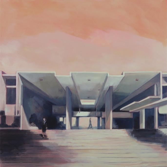 El edificio de Paul Rudolph (1958-1960). 100x100 cm. Técnica mixta sobre lino.