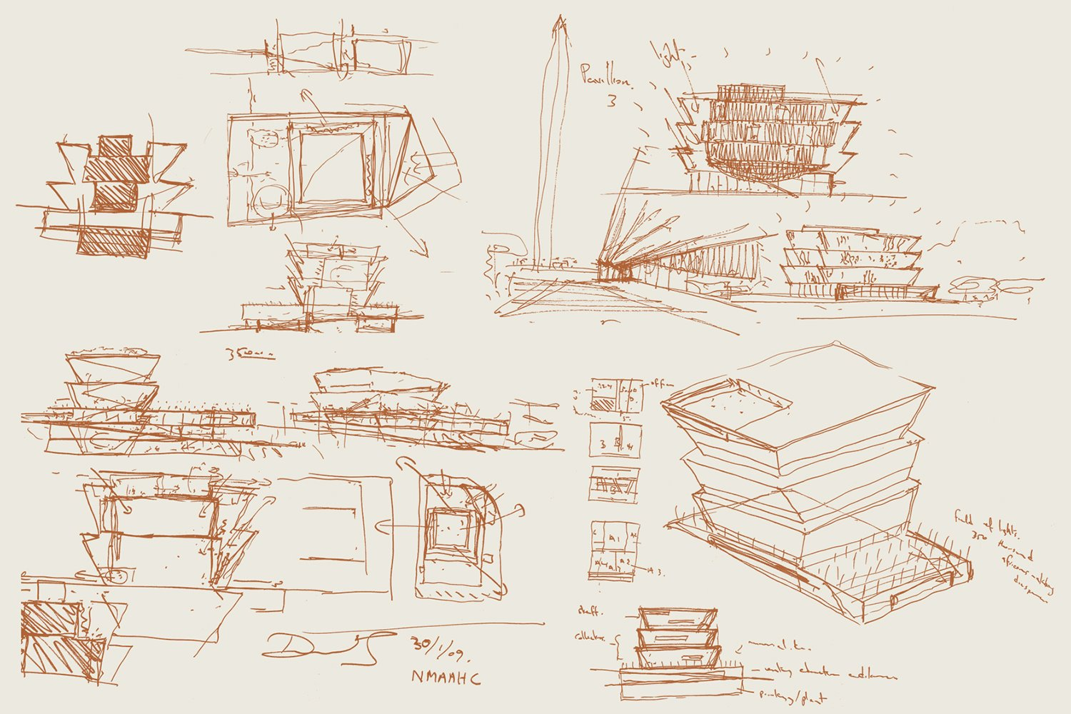 design miami David Adjaye Smithsonian Sketch 16x22 inches copper ink on paper $1,000