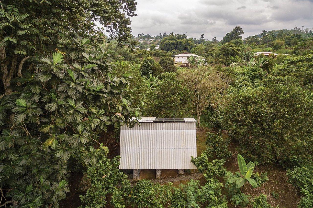 La construcción se integra en un paisaje exuberante de cocoteros, bananos y naranjos.
