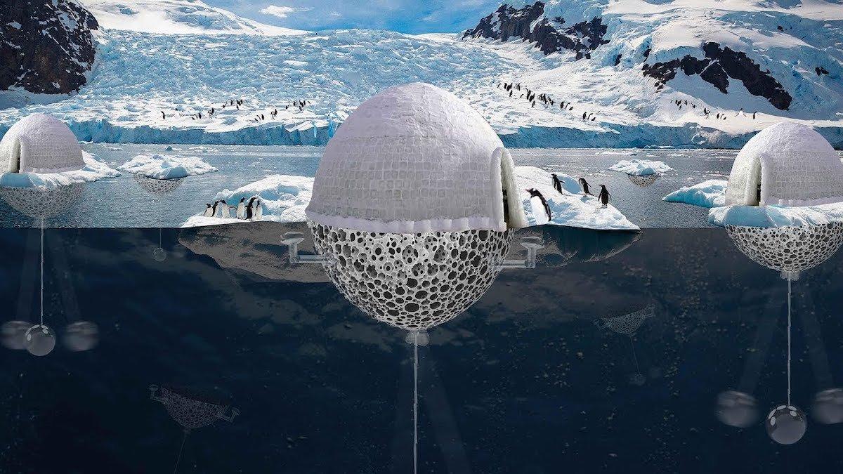 La mitad sumergida del iglú está pensada para que se desprenda y tenga vida autónoma, bajo las aguas, en busca de áreas que necesiten enfriamiento.